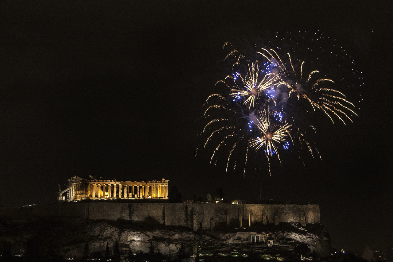 Athens, Greece welcomes 2017 2017 2017 New Year Acropolis Arts Culture And Entertainment Athens Celebration Celebration Event City Exploding Firework Firework Display Illuminated Low Angle View Midnight Night No People Outdoors Sky