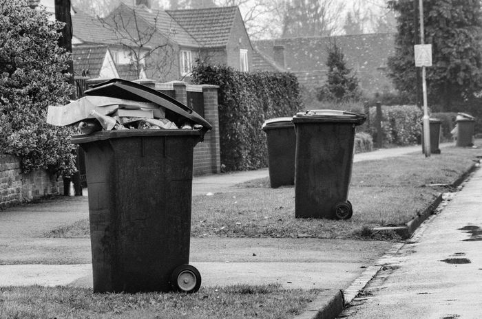 Bins out for collection on bin day. Bin Bin Day Bins Black And White Collection Day Day Environment Environmental Conservation Environmental Issues Garbage Bin Garbage Can No People Outdoors Recycling Rubbish Bin Rubbish Bins Street Waste Management