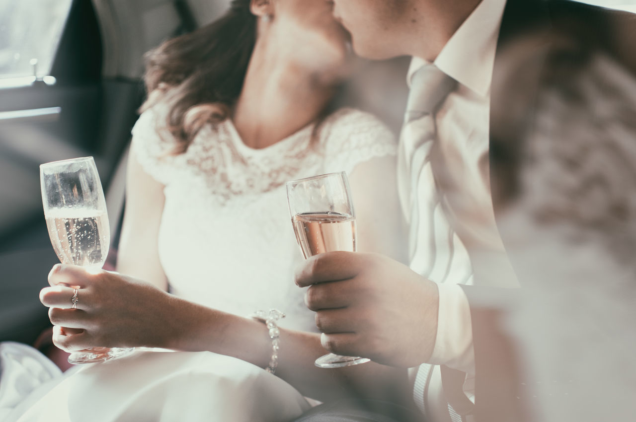 Beautiful stock photos of wein, Wife, bride, champagne, couple