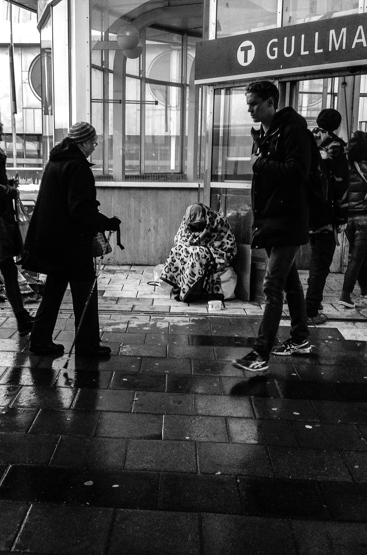 Begging in the snow Human Interest Gullmarsplan Stockholm Black And White