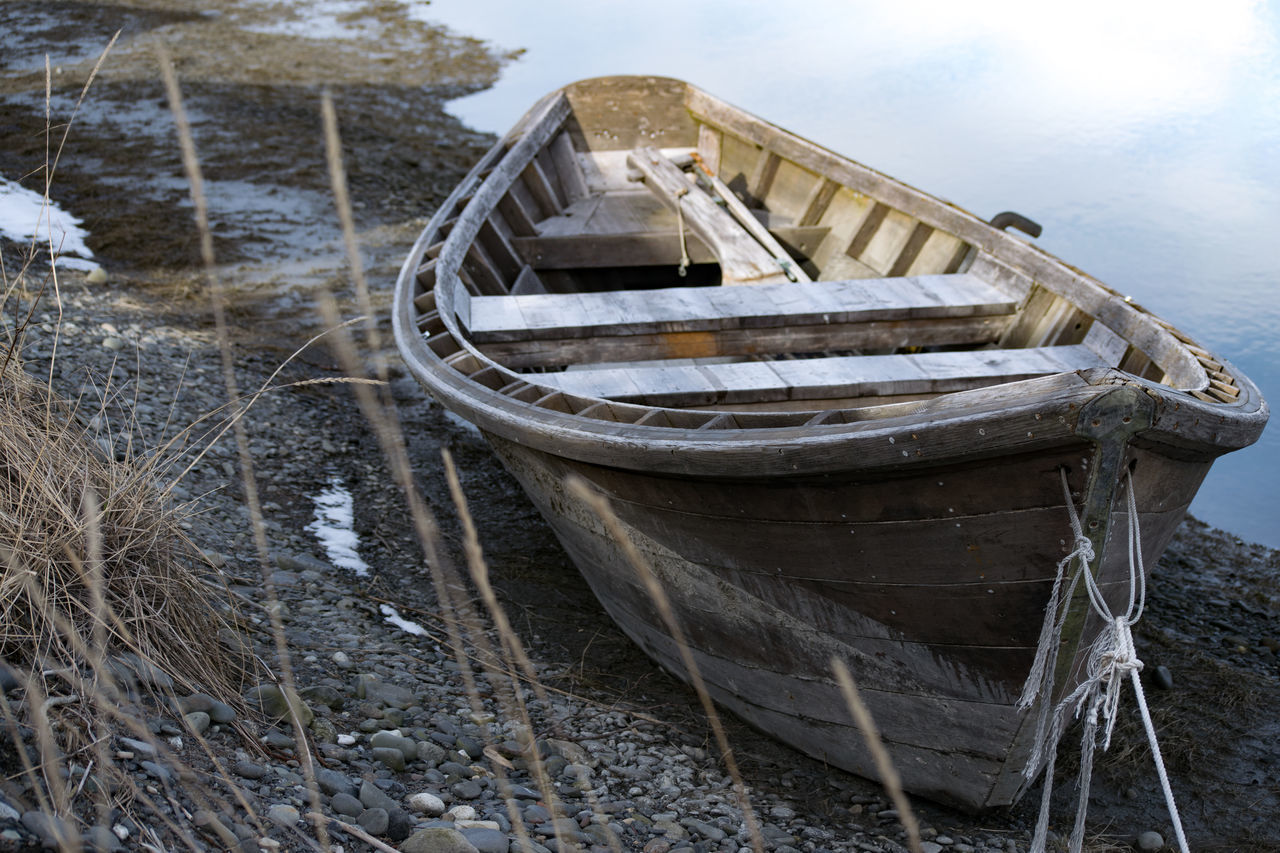 Old wooden boat on the Beach Boat Boat On The Beach Harbor Low Tide Old Boat Row Boat Wood Boat Transportation