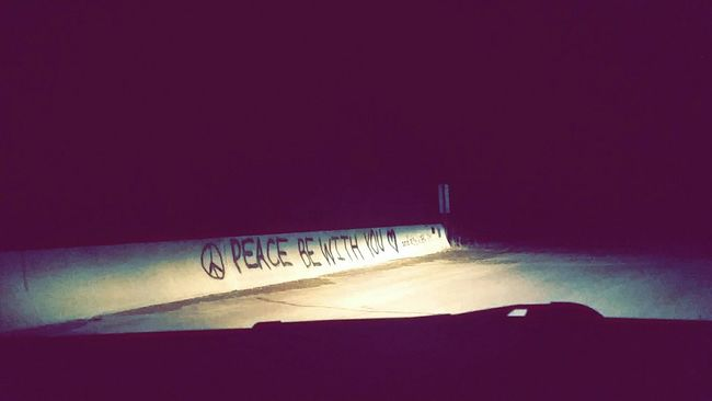 Peace Be With You Harmless Graffiti Bridge Art Summer Night The Little Things Peace Stary Night Gravel Roads