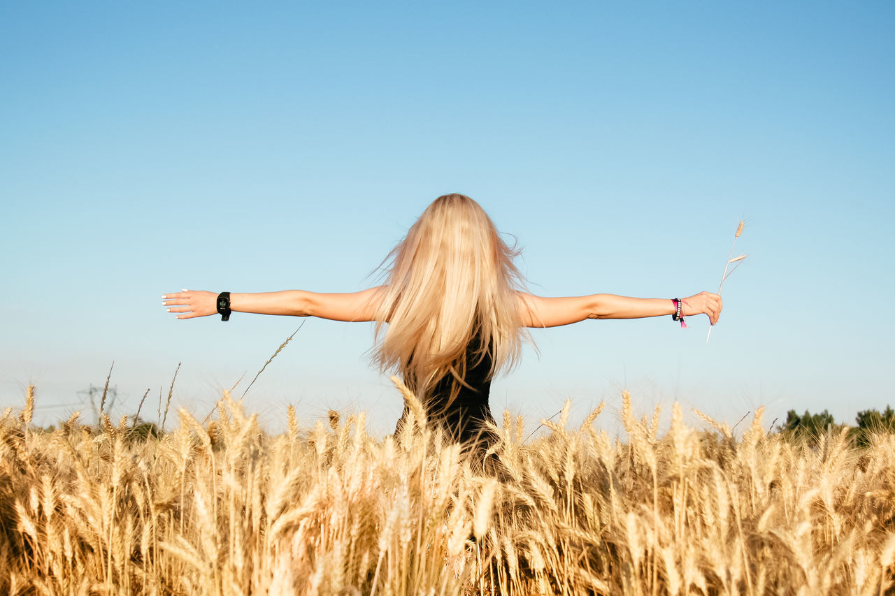 Arms Outstretched Beauty In Nature Bio Blonde Clear Sky Clear Sky Energy Field From Behind Growth Harvest Lifestyles Long Hair Nature One Person Outdoors Rear View Rear View Rural Scene Standing Summertime Sunny Wheat Women Young Women