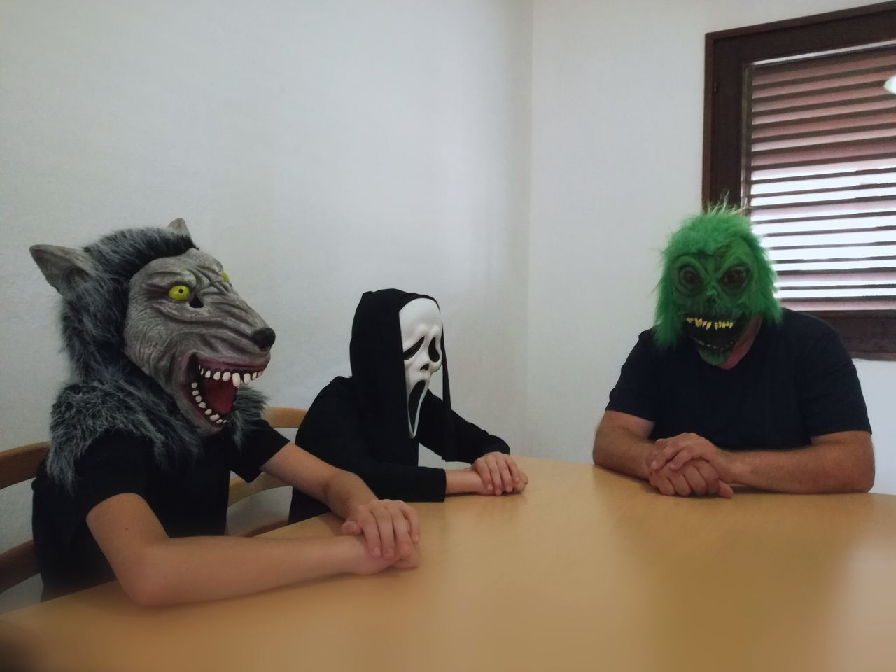 😁 Mask - Disguise Humor Indoors  Disguise Business Finance And Industry Anger Fun Dishonesty Ghostface Wolf Monster Meeting Halloween Masks Halloween Costumes Seriously Creativity Real People Discussion Silent Silence Non-verbal