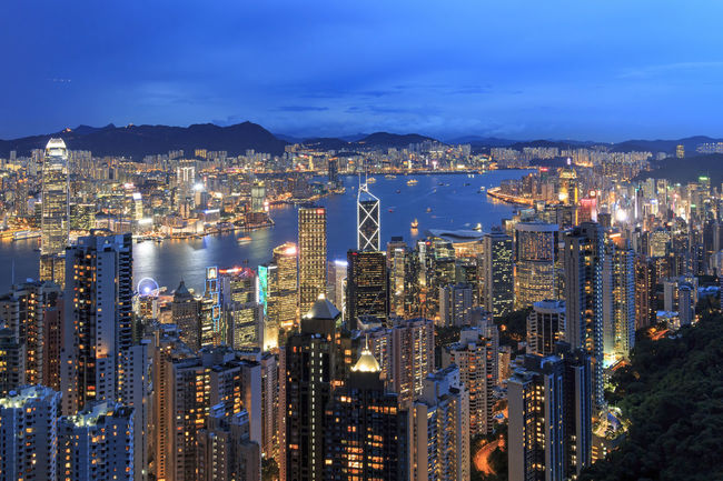 Hong Kong by night, from the Victoria Peak Hong Kong Architecture ASIA Blue Built Structure China City City Life Cityscape Cloud - Sky Illuminated Modern Mountain Nature Night No People Outdoors Residential Building Residential District Scenics Sky Travel Destinations Victoria Harbour Victoria Peak, Hongkong Water
