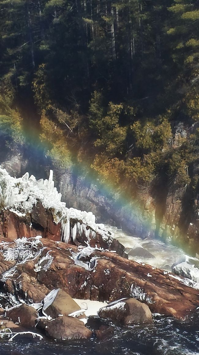 Rainbow over High Falls. Landscape_photography NY Nature Adirondacks Cold Winter Water Beauty