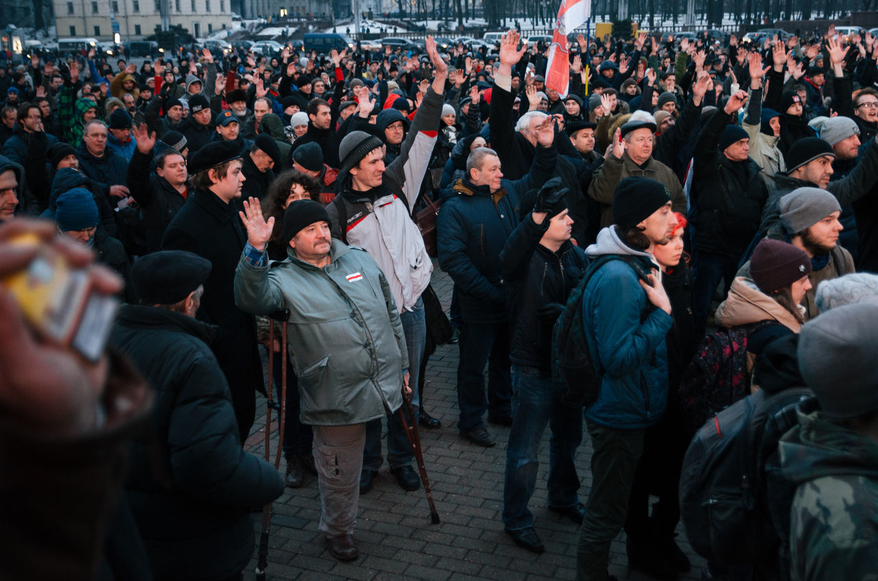 Minsk, Belarus - February 17, 2017 - Belarusian people participate in the protest against the decree 3 'On prevention of social parasitism' of President Lukashenko in the center of Minsk Adult Beauty In Nature Belarus Disabled March People Protest Protesters Protesting Street