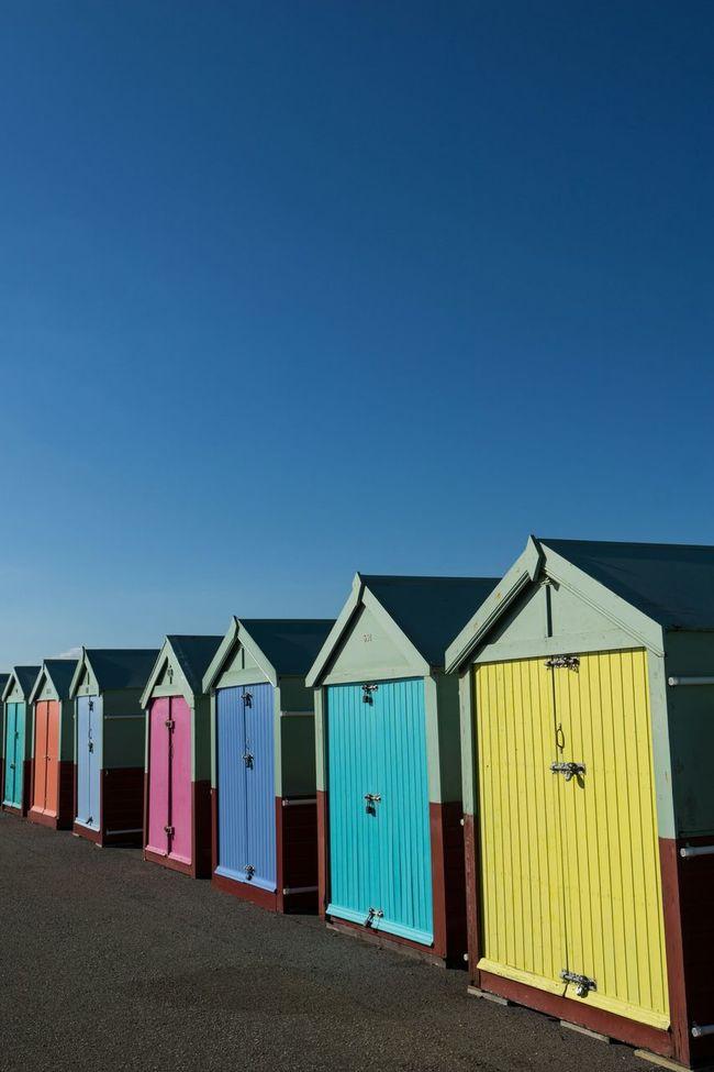 Beach huts three Beach Huts Seaside Blue Sky Colours Hut Beach