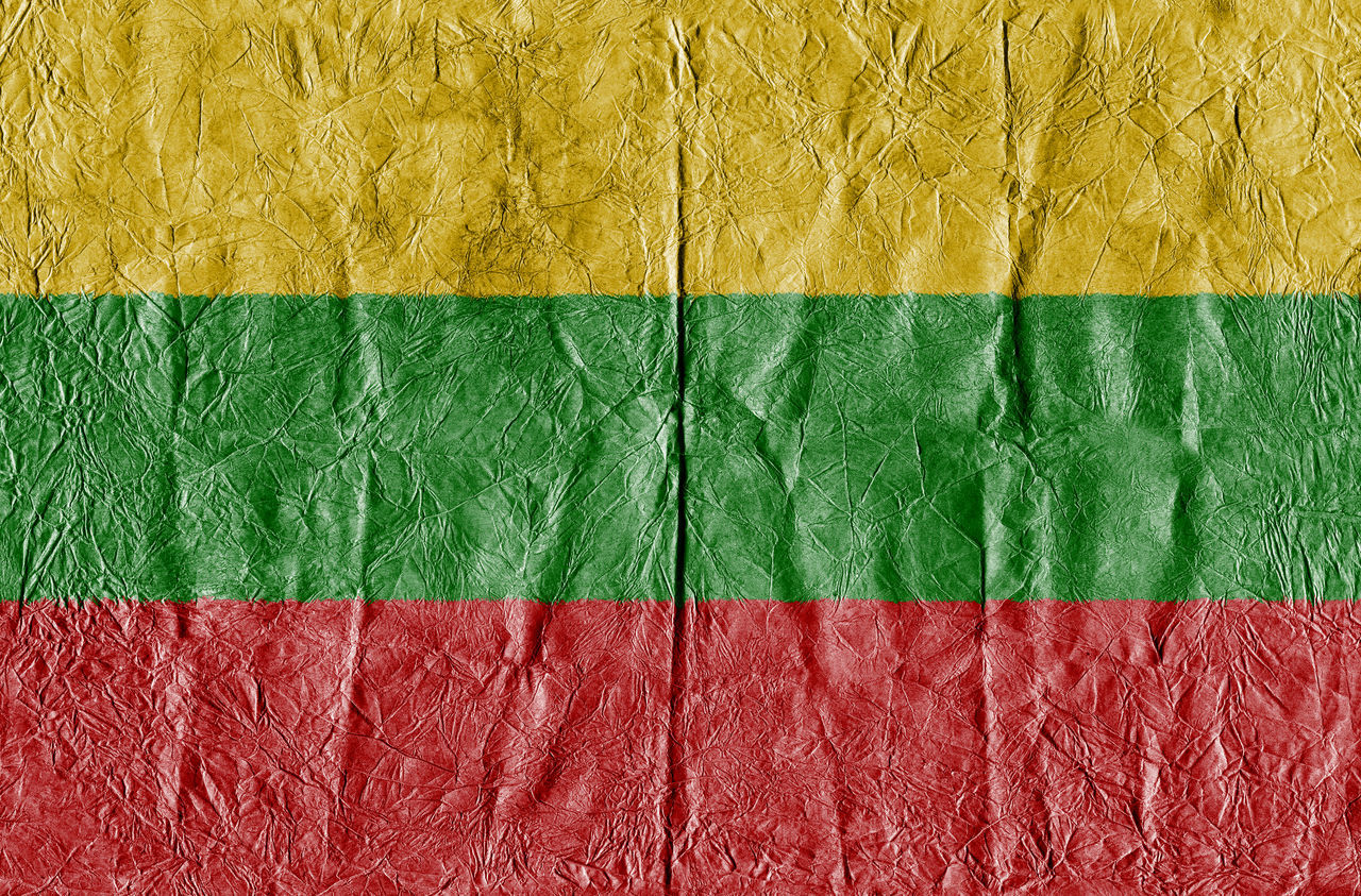 Lithuania flag on a paper in close-up Background Close-up Concept Country Flag Eu Europe Flag Freedom Growth Isolated Land Lithuania Lithuania Flag National Flag National Land Paper Pattern State Symbol Textured  Travel