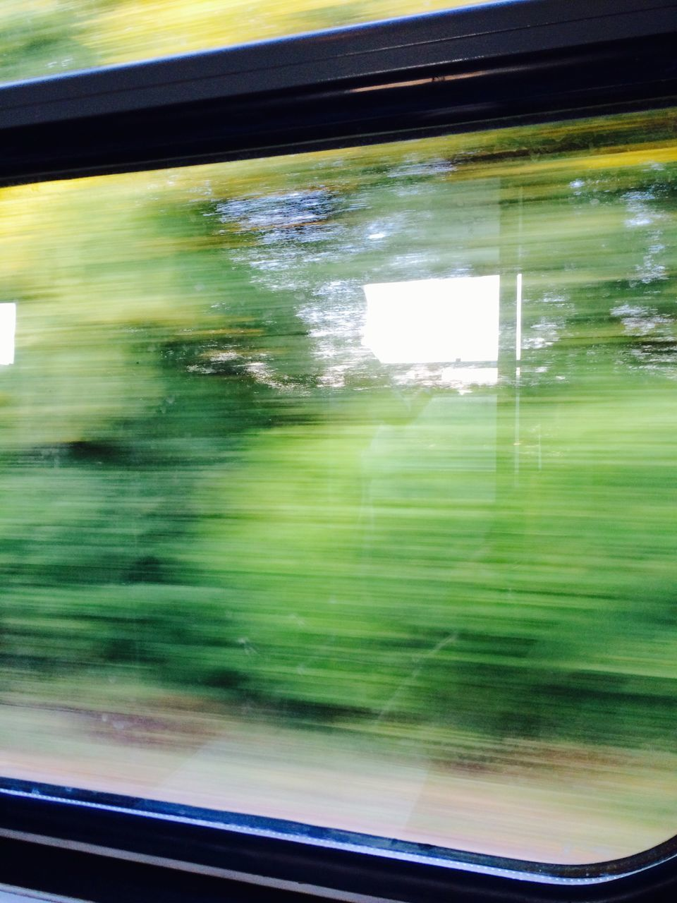 Blurred Motion Of Train Moving Against Trees