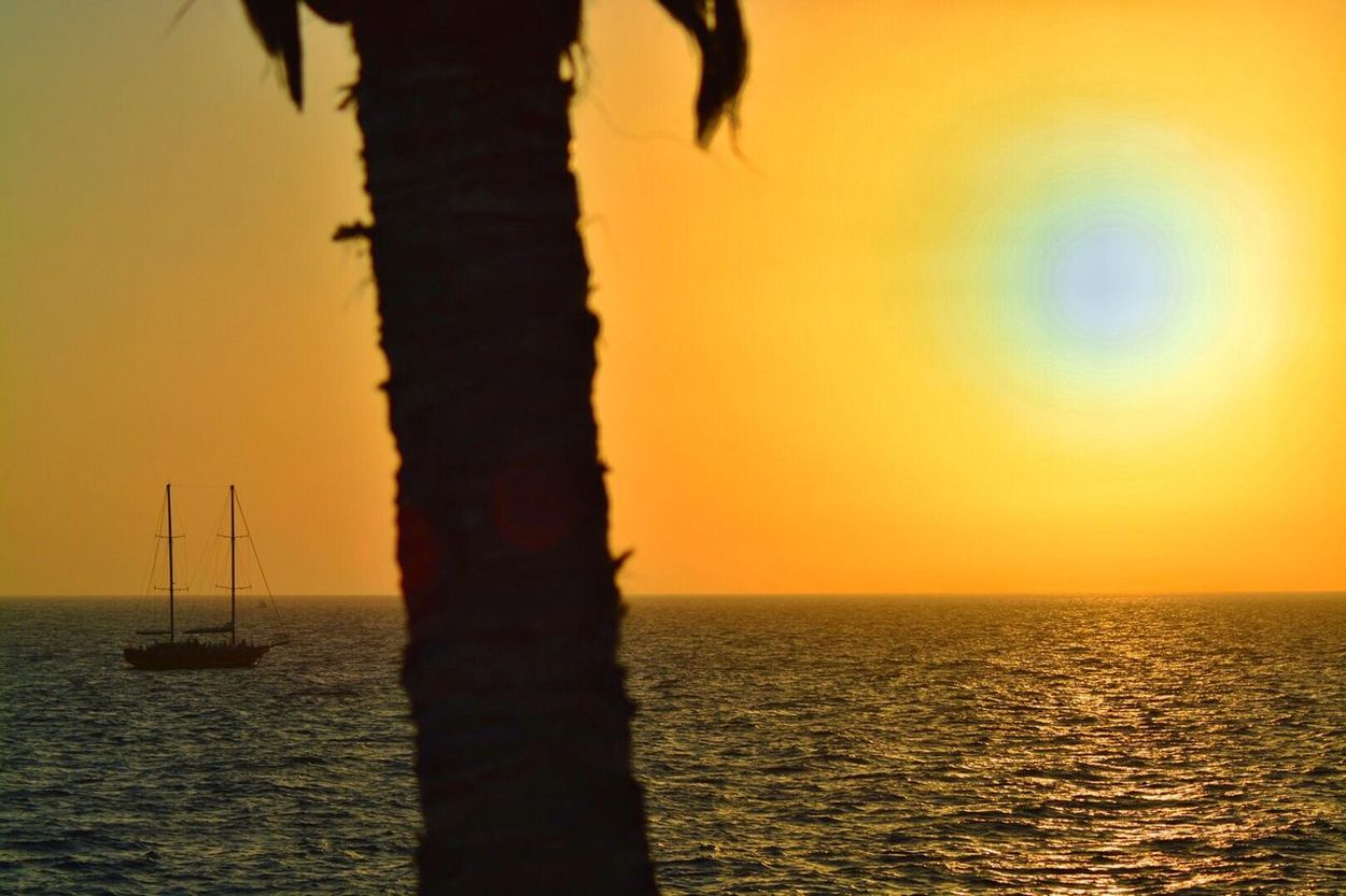Summertime Sunsetsea Sunset Silhouettes Canary Islands Sailing Enjoying Life Escaping From The Heat