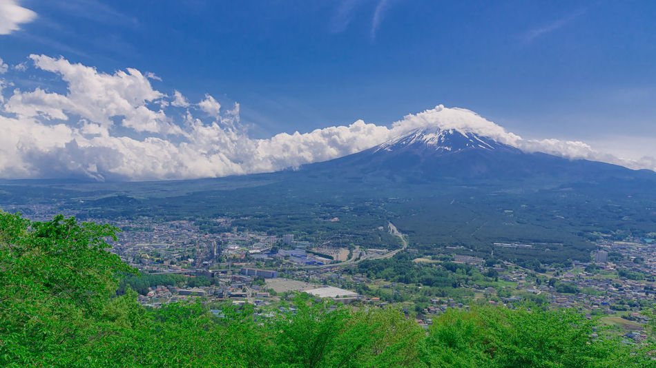 Fuji mountain. Architecture Beauty In Nature Blue City Cityscape Cloud - Sky Day Fujimountain Grass High Angle View Japan Japan Photography Landscape Landscape_Collection Mountain Mountain Range Nature No People Outdoors Scenics Sky Tranquil Scene Tranquility Tree