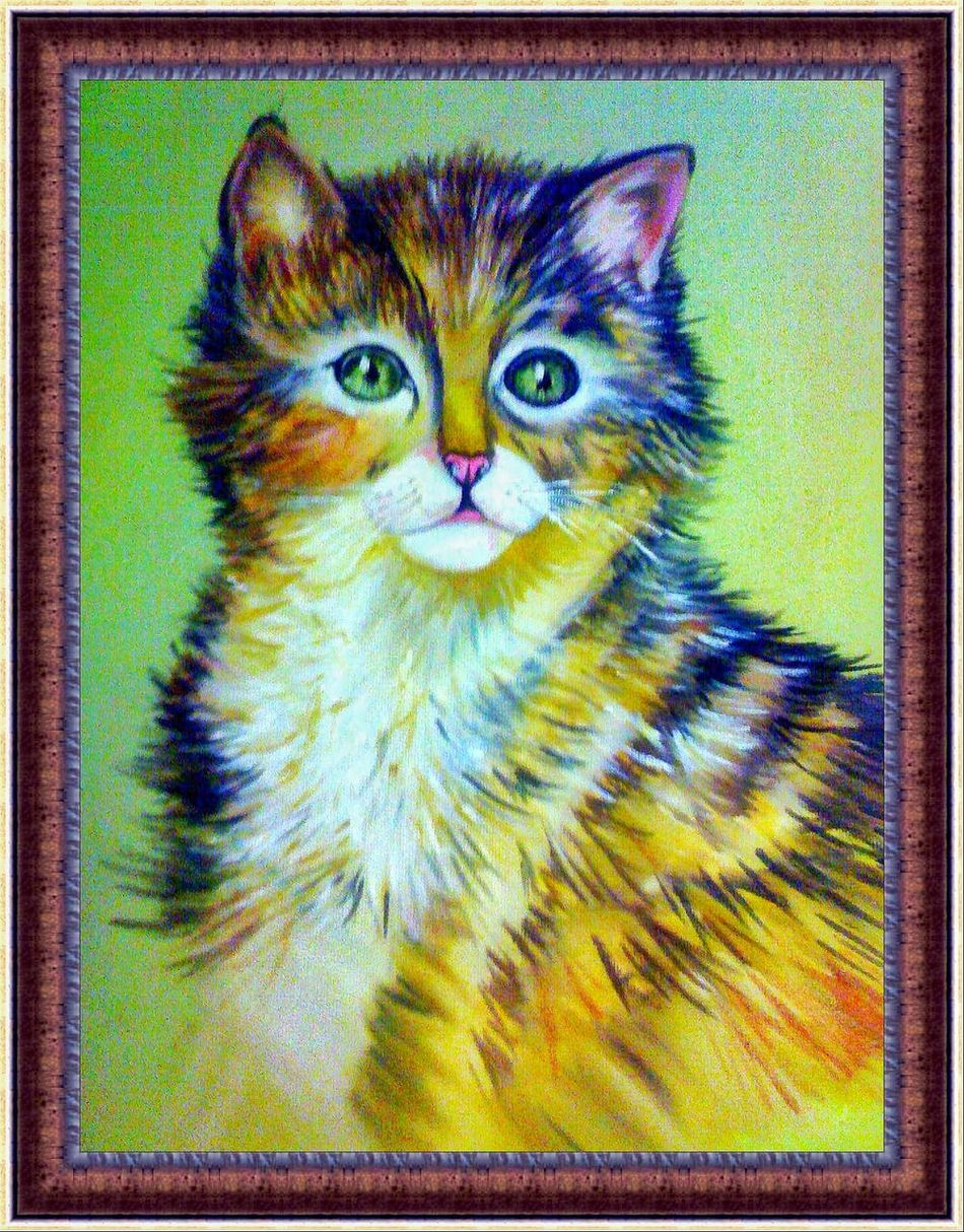 Animal Themes One Animal Domestic Cat Portrait Photography Painting Artist My Smartphone Life Photoshoot Mypainting Oldpaint Painter Oilpainting