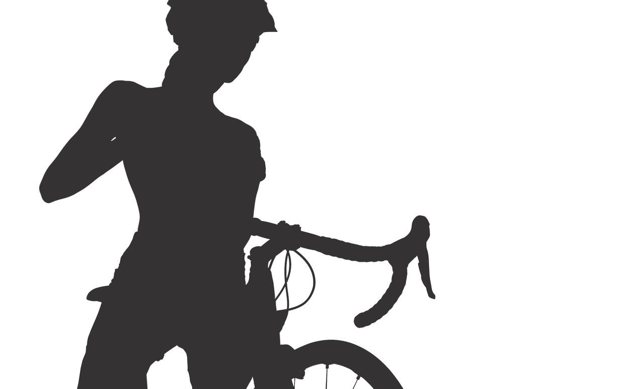 Silhouette of woman with a bicycle, isolated on a white background Athletic Bicycle Bicyclist Bike Black Silhouette Contour Cut Out Cycling Cyclist Female Full Length Helmet Illustration Isolated White Background One Person Outline People Road Bike Sexygirl Silhouette Sportive Studio Shot Transportation White Background Woman