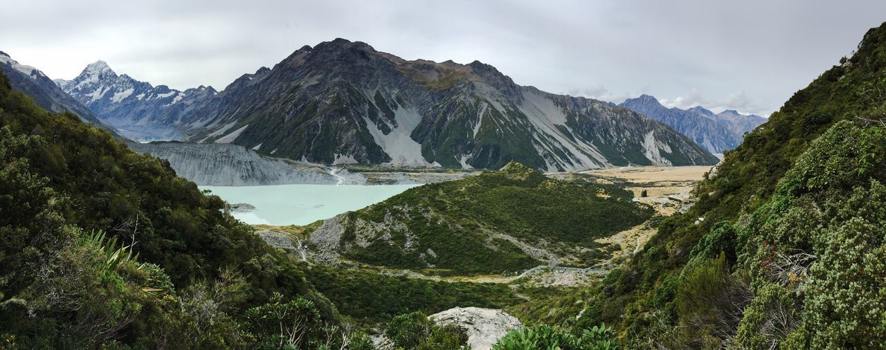 Mountain Nature Sky Beauty In Nature Water Mountain Range Landscape Tranquil Scene No People Day Outdoors New Zealand Mount Cook View From Above Panorama Panoramic Glacier Lake Hiking Trail Travel Trees