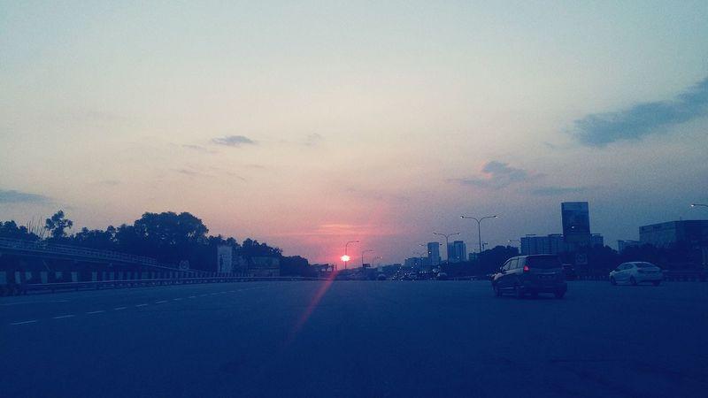 Scenery Sunset Highway Summer