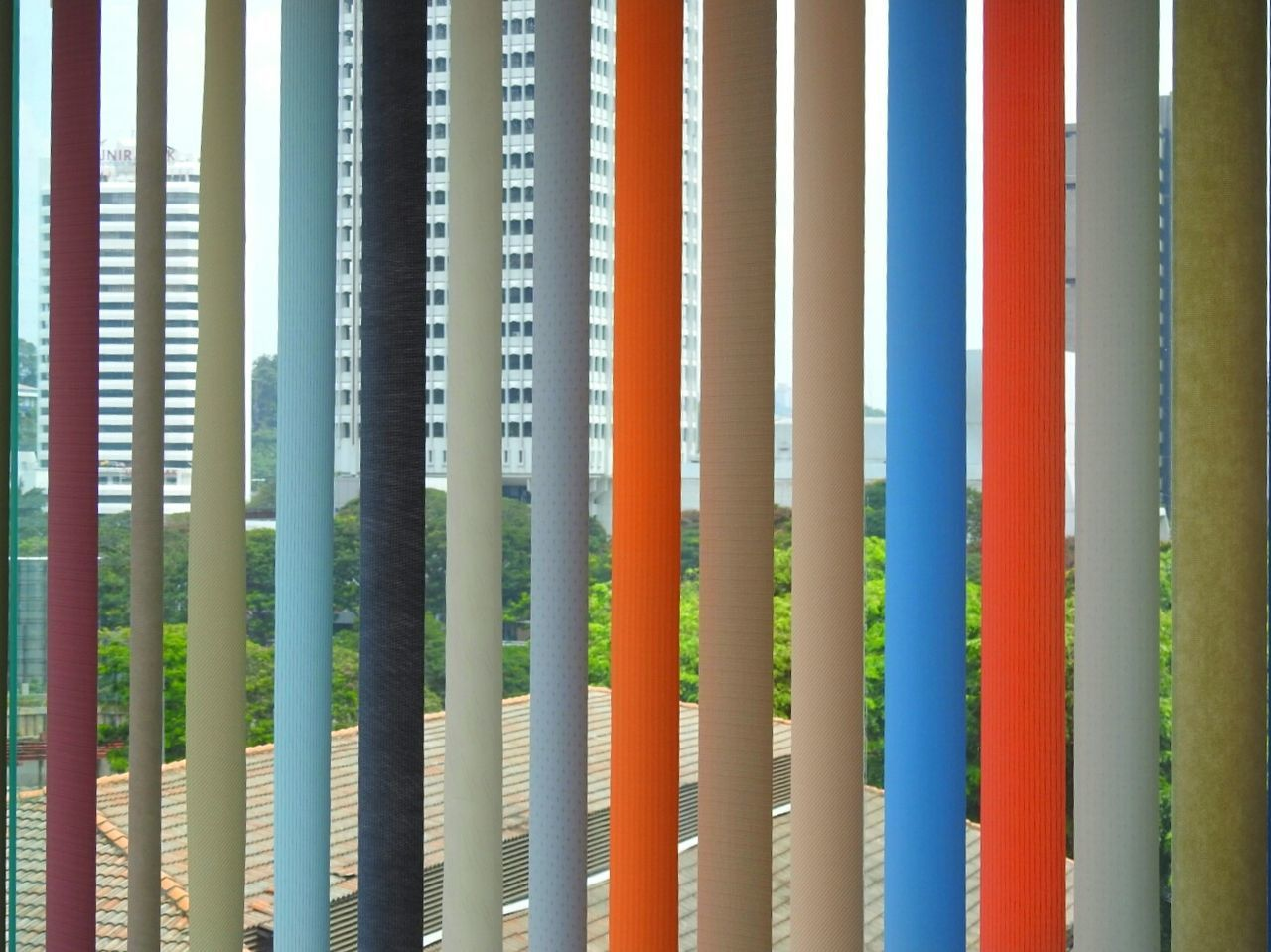 Window Blinds Blinds Vertical Lines Vertical Chic Colours Windows Window Dressing Upholstery Orange Blue Light Blue Beige Cream Grey Material Cloth Stripes View Looking Out Shade Shades Of Color Lines&Design Lines Lines And Lights Lines, Colors & Textures