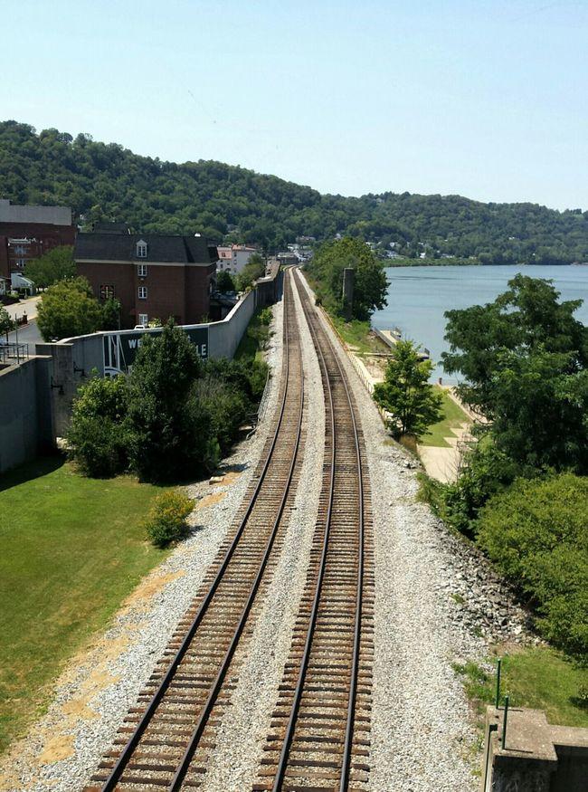 View of railroad tracks from Simon Kenton bridge near Limestone Landing Railroad Downtown