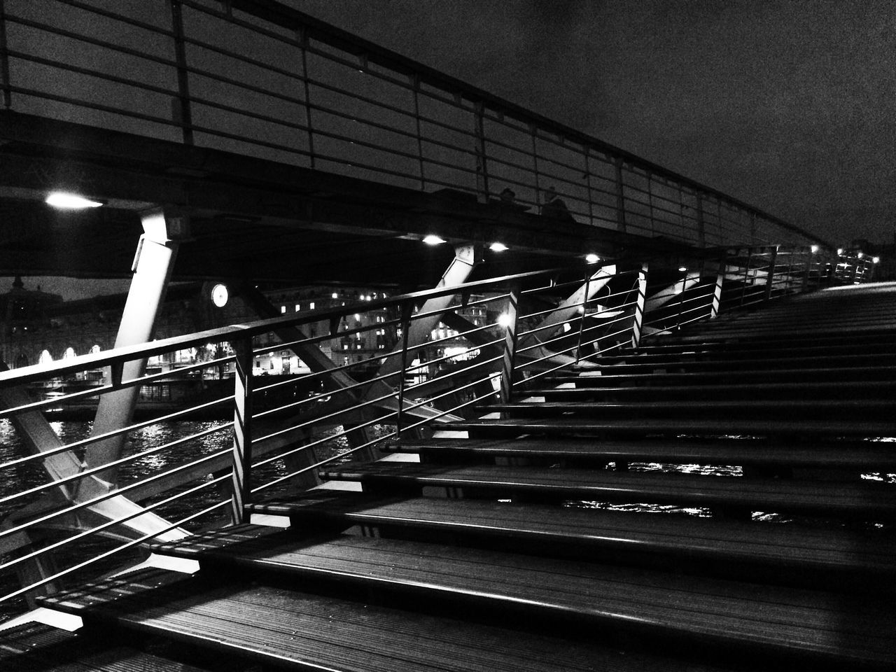 railing, steps and staircases, steps, staircase, built structure, no people, night, architecture, transportation, illuminated, outdoors, hand rail, sky