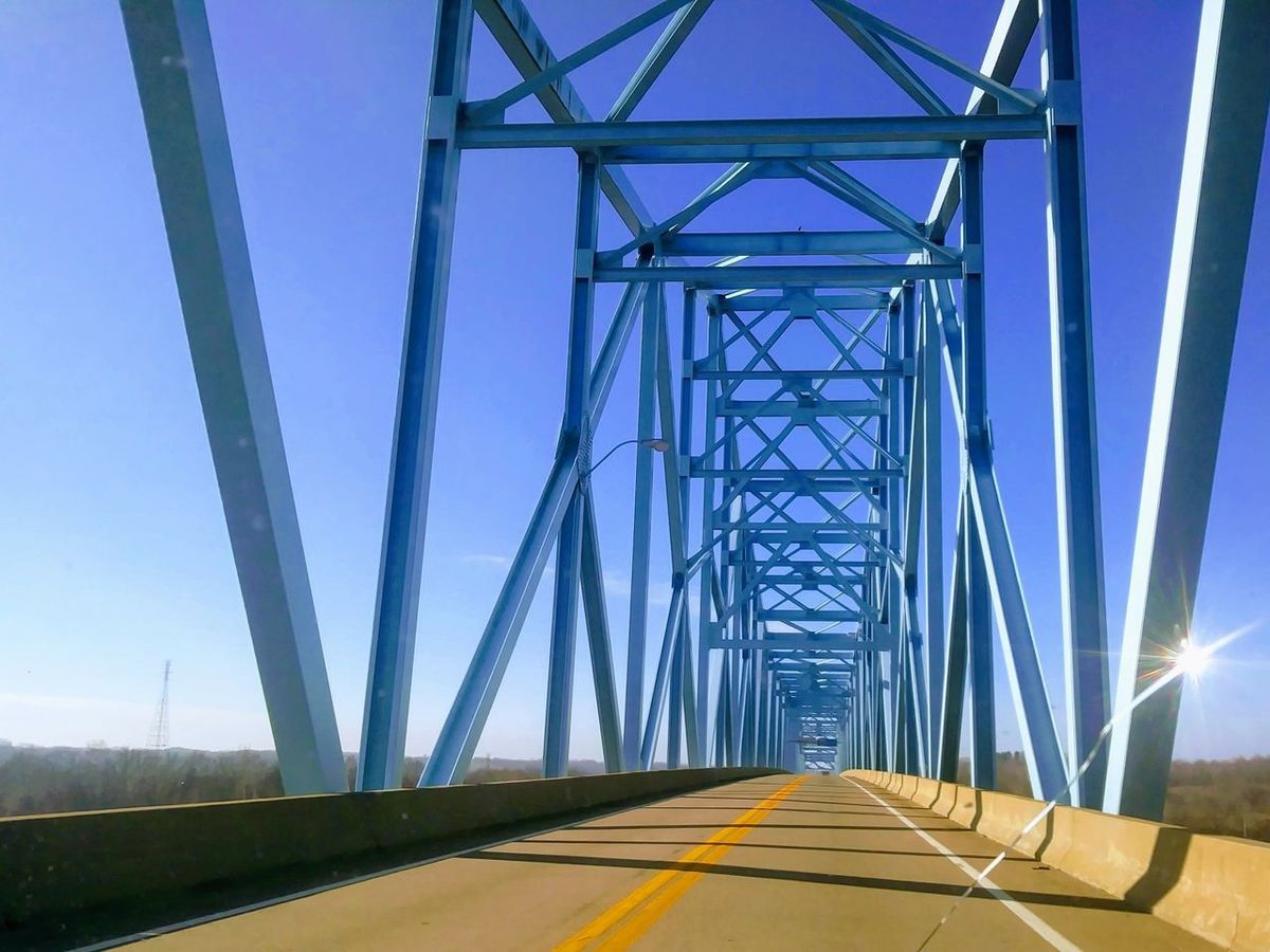 Ravenswood Ohio River West Virginia Connection Bridge - Man Made Structure No People Transportation Cable Steel Road Sky Clear Sky Outdoors Day