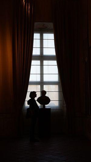 Silhouette Indoors  Curtain Window Full Length Adult Only Women Venaria Reale Torino Ciao Amici