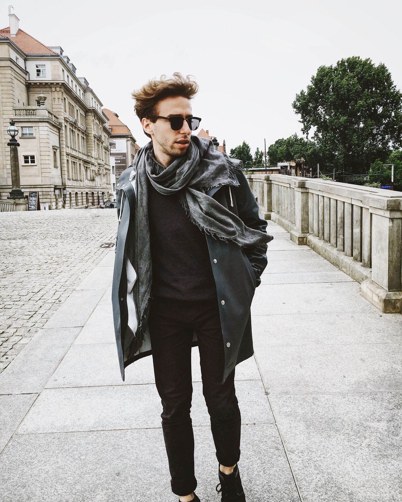 summeroutfit? thx @stutterheim Front View One Person One Man Only Young Adult Day Fashion Young Men City Portrait Well-dressed Fashion Sunglasses Grey Jackets Rain Jacket Rainy Days Grey Day Black Trousers Windbreaker Walking Streetstyle Berlin Historical Building Shooting Style Cold Days