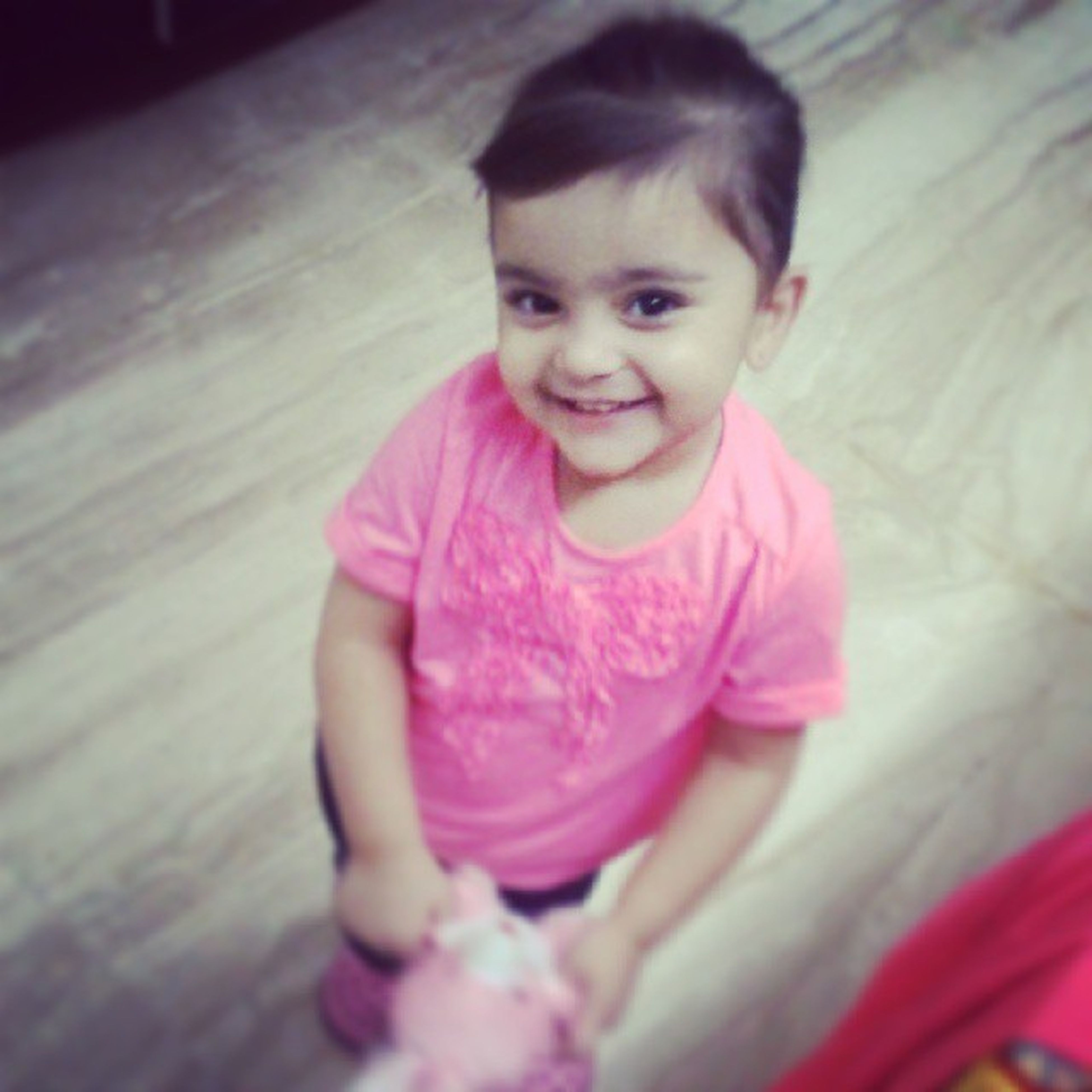 childhood, innocence, elementary age, person, cute, looking at camera, portrait, indoors, girls, front view, lifestyles, boys, casual clothing, leisure activity, smiling, happiness, baby, high angle view