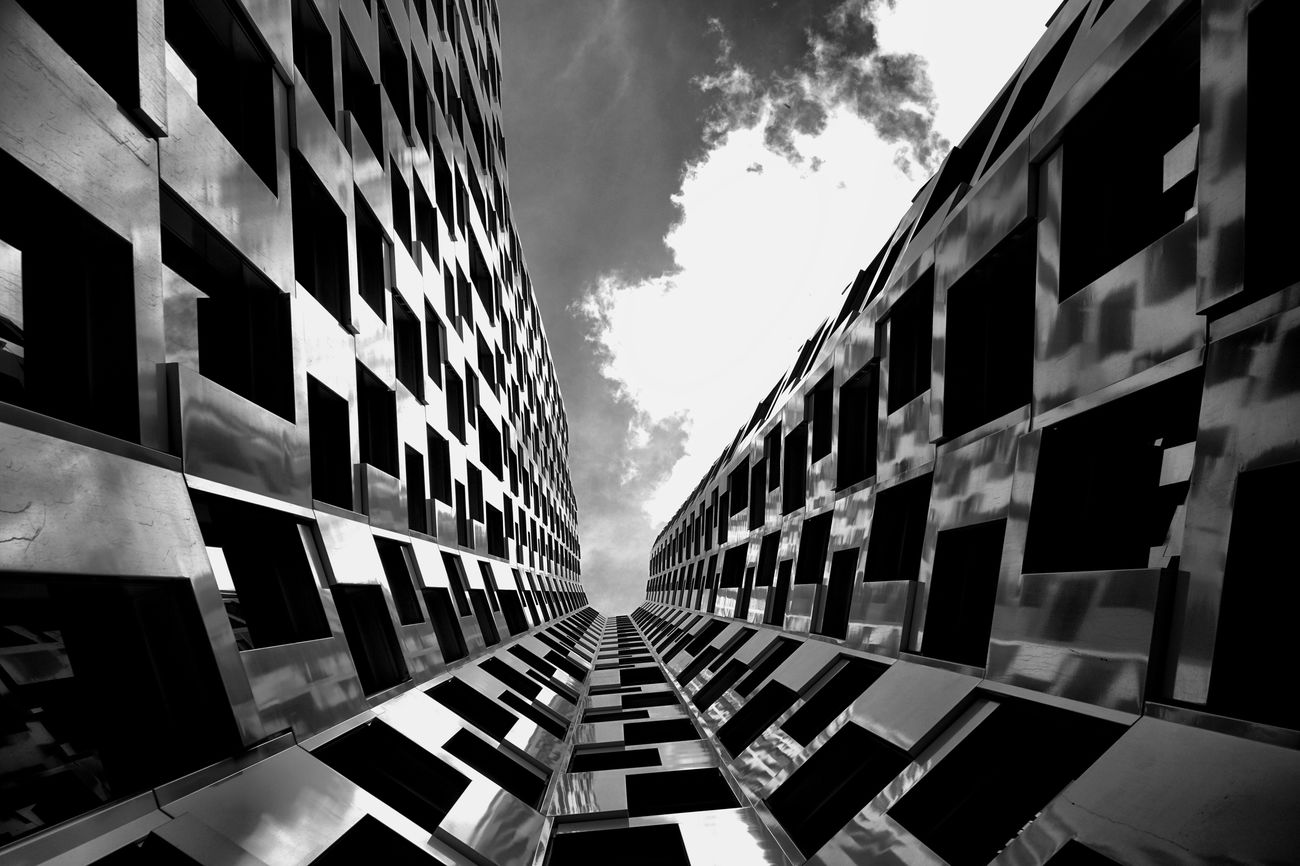 The Architect - 2017 EyeEm Awards Architecture Building Exterior Built Structure Window Skyscraper Day No People Cloud - Sky Sky City Outdoors Modern Berlin Building Architecture Lookingup Real Photography Modern Art Modern Architecture Monochrome Blackandwhite