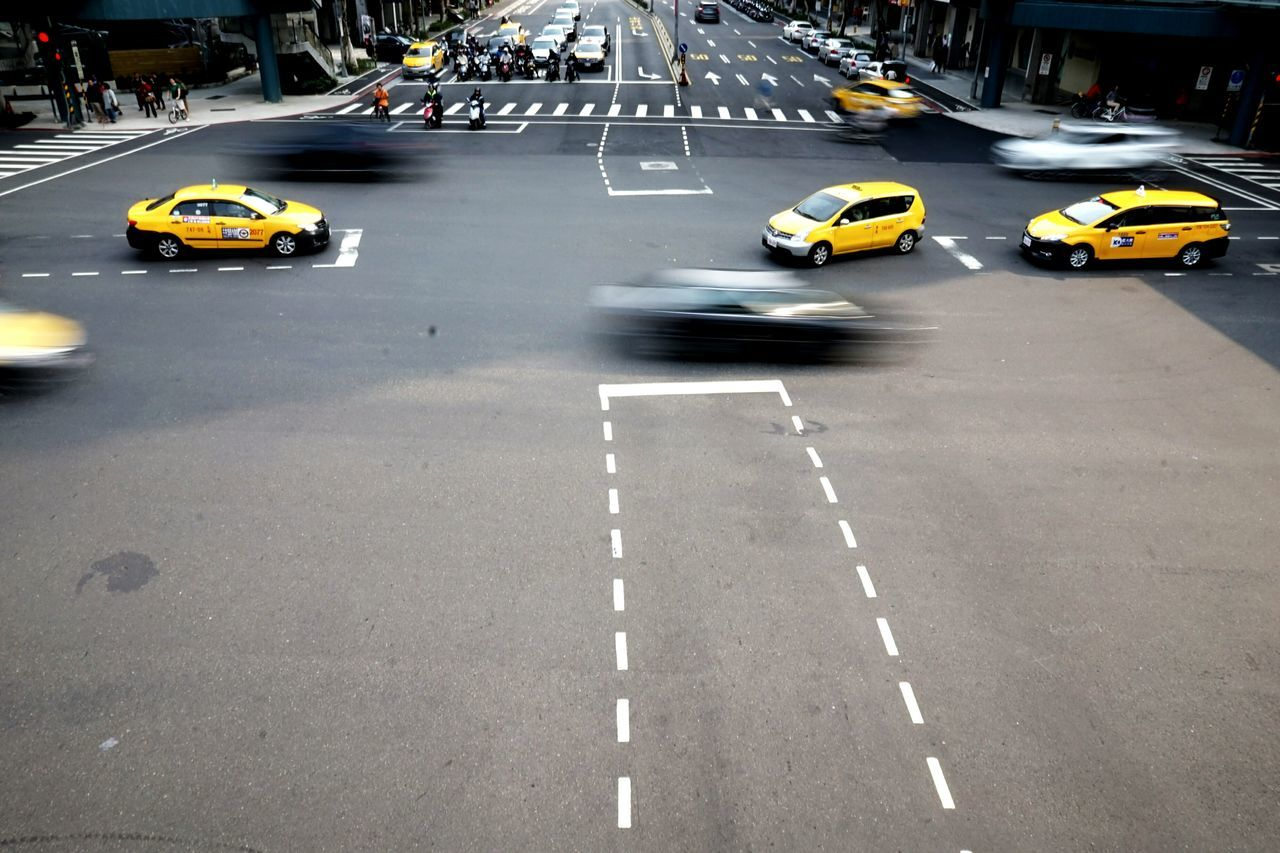 Car Transportation Yellow Taxi Traffic Taxi On The Move Mode Of Transport City Street Street Yellow Land Vehicle Taxi Rush