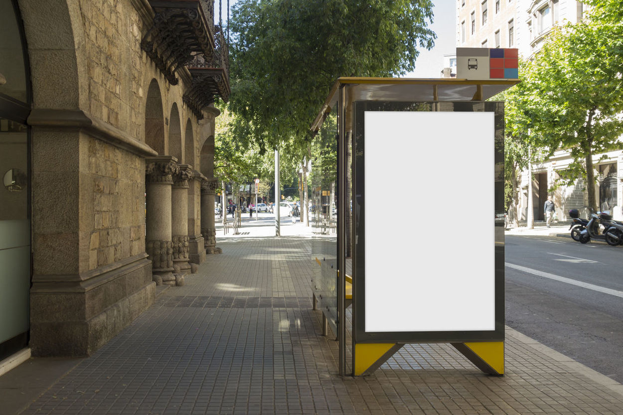 Advertising Billboards City Free Poster Promotion Street Life Tree Advert Advertisement Billboard Blank Building Built Structure Bus Stop Commercial Day Empty Mock Up Promote Street