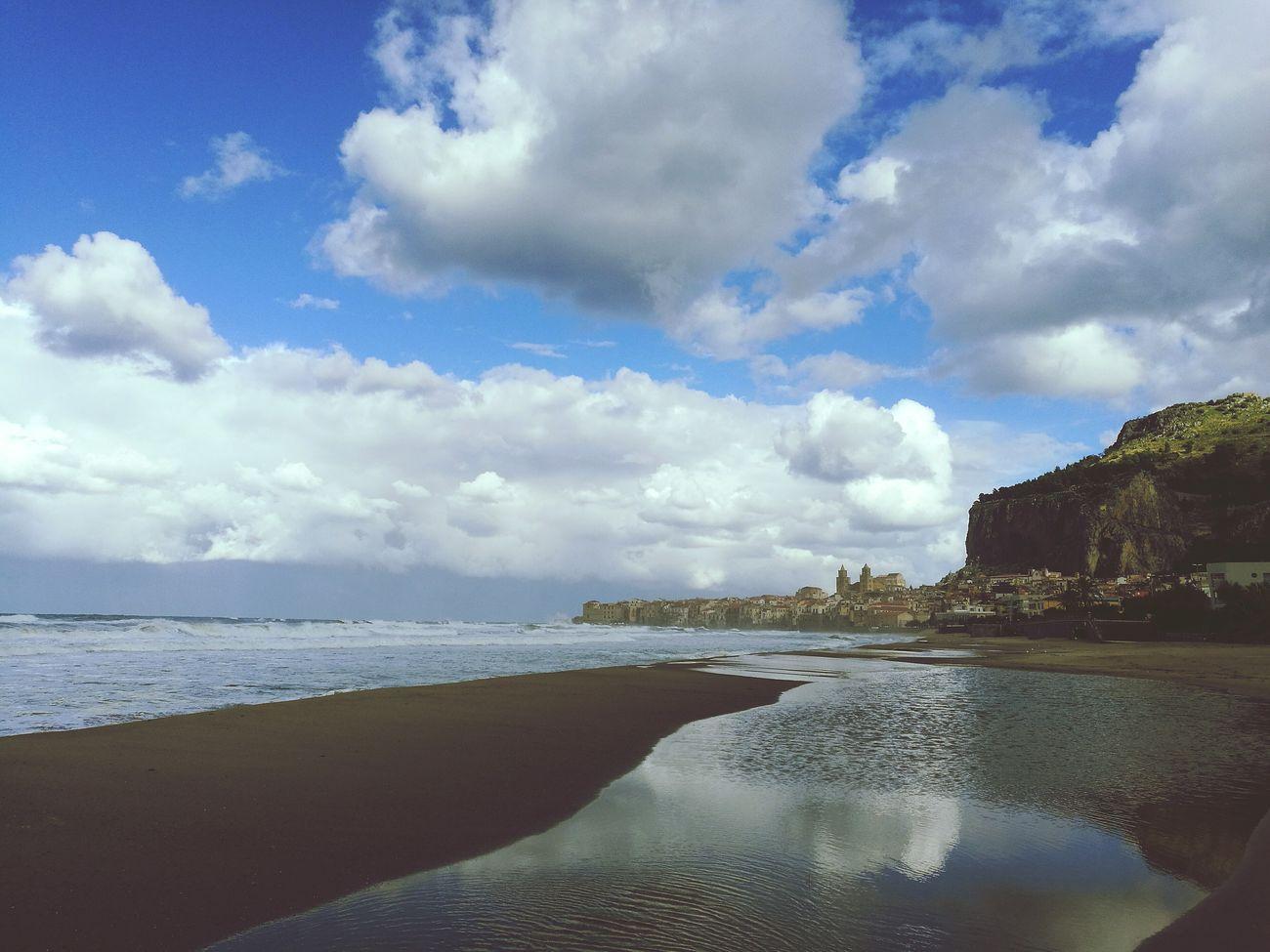 Sea Blue Reflection Sky Horizon Over Water Cefalú, Sicilia, Mare, Paesaggio Travel Destinations Orizzontimeridionali Mare Blue Sky Blue Water Sicily Siciliabedda Historic City Architecture