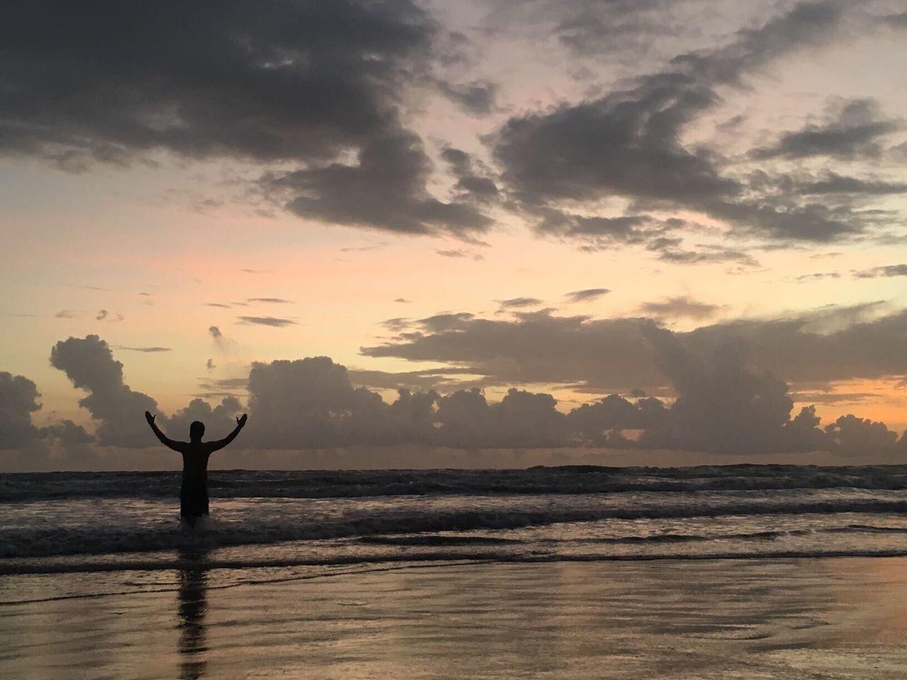 Man in the sea Sea Arabian Goa Goa India Morjim Calangute India Travel India Goa ❤❤ Goan Man Praying Sea And Sky Seaside Seascape Sea View Human