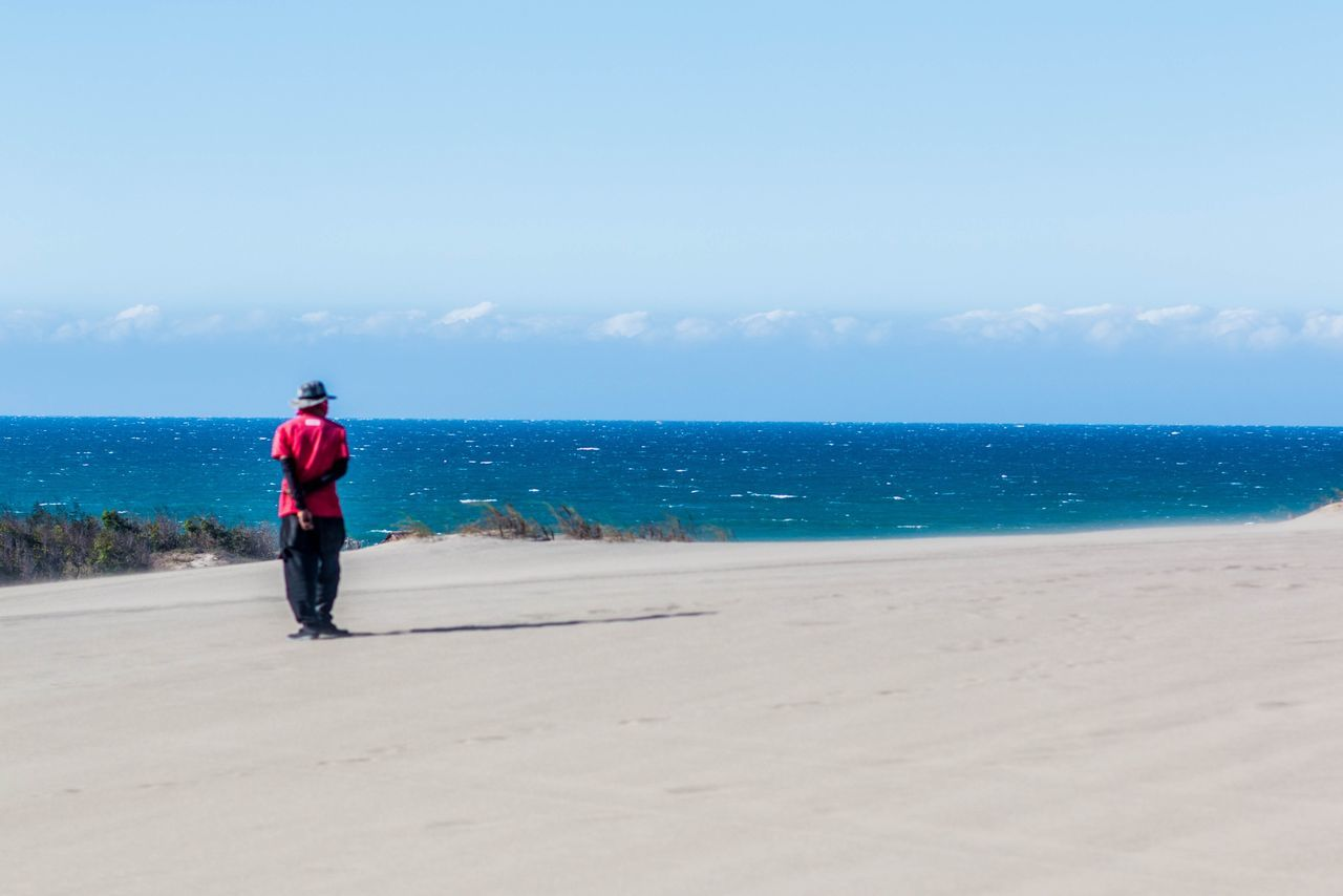 Full length rear view of man standing at beach against sky on sunny day
