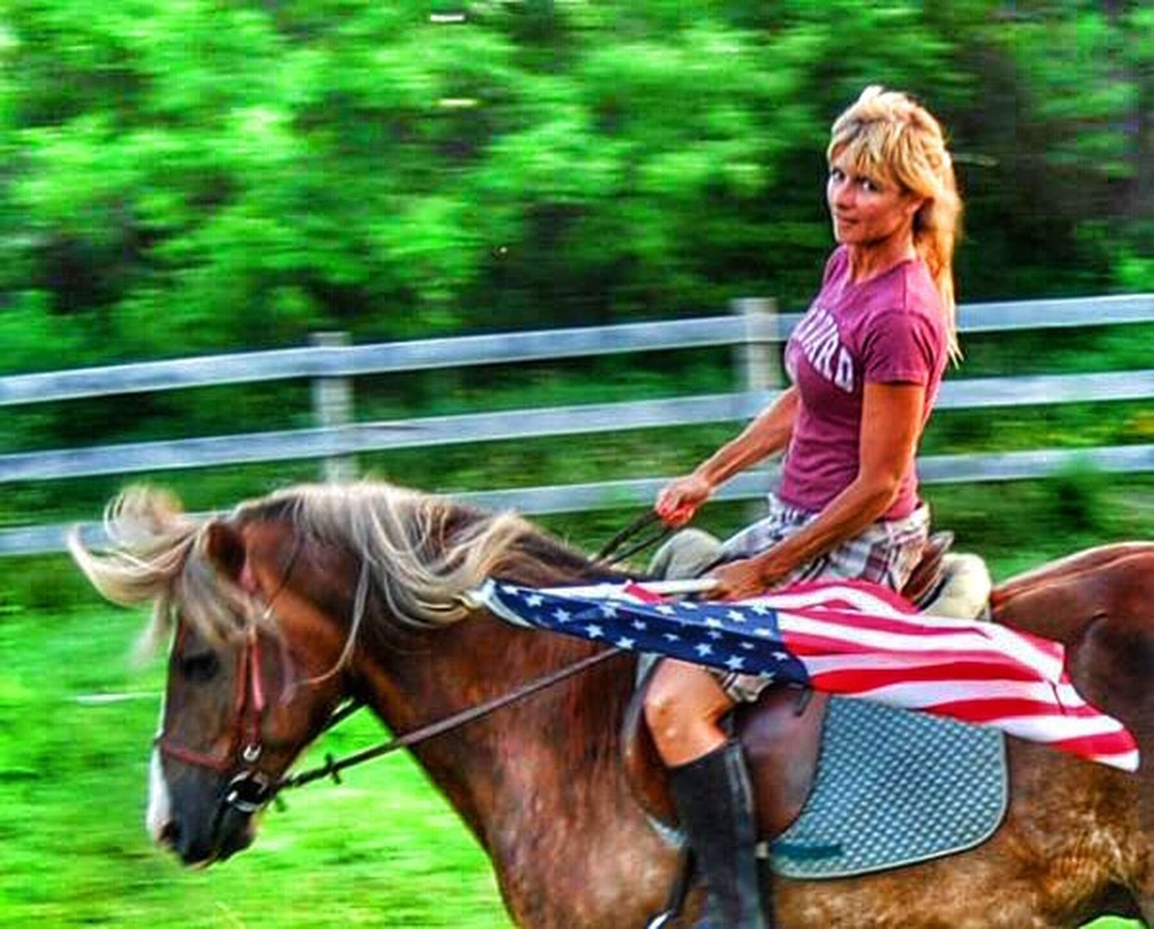 leisure activity, lifestyles, horse, long hair, casual clothing, young adult, side view, focus on foreground, person, young women, three quarter length, fun, animal themes, motion, standing, full length, outdoors, blond hair