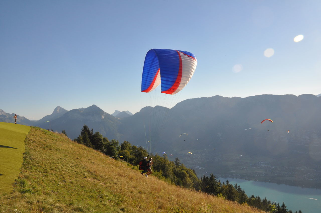 Adventure Beauty In Nature Day Extreme Sports Flying Mountain Nature No People Outdoors Paragliding Scenics Sky Sport Take Off TakeOff Travel Destinations