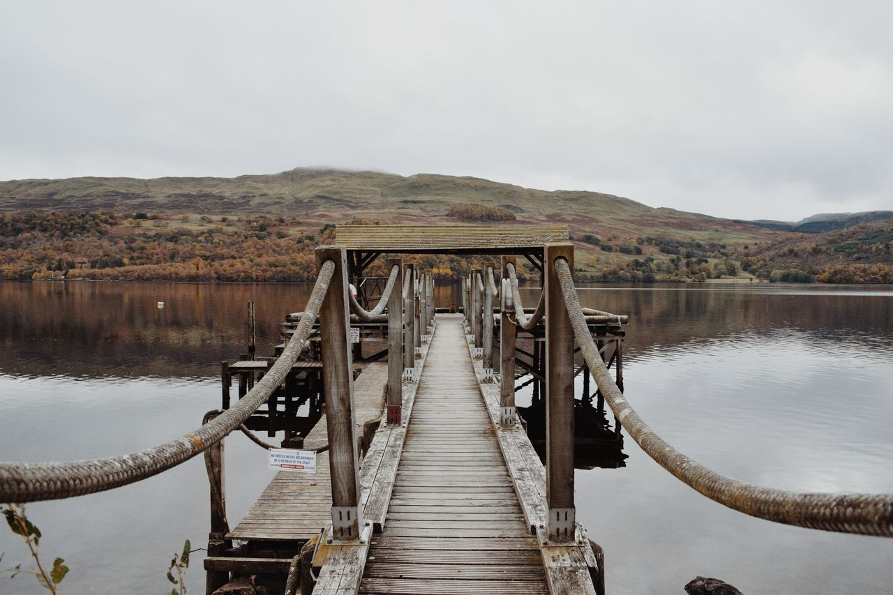 Solitude walk on the pier Water Bridge - Man Made Structure Lake Connection Nature Tree Sky Outdoors EyeEm Landscape No People Day Reflection Lake Loch Tay Scotland Autumn🍁🍁🍁 Beauty In Nature Scotlandsbeauty Loch