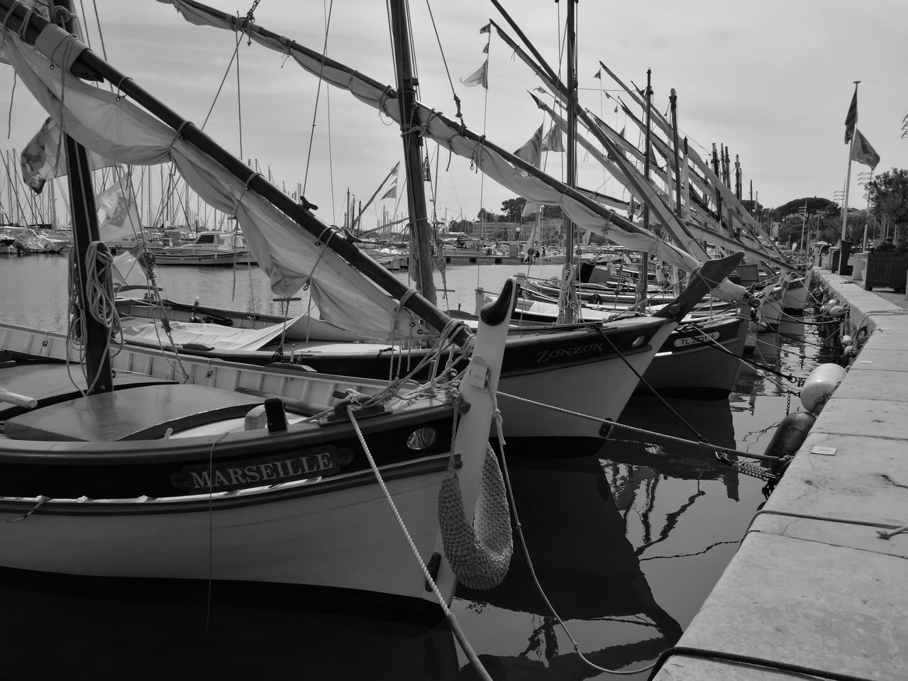 Monochrome Photography Bandol, France Marseille Pointue Boat