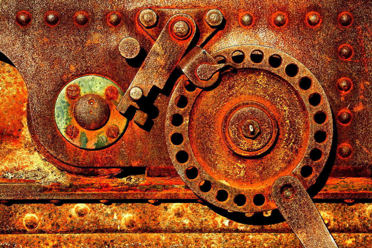 Close-up Day Gear Metal No People Nut - Fastener Outdoors Pattern Rusty Textured  Weathered