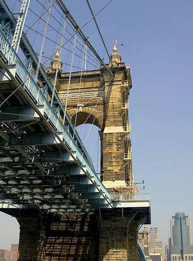 Bridge Over Ohio River Cincinnati Ohio Suspension Bridge Ohio River Bridge Column
