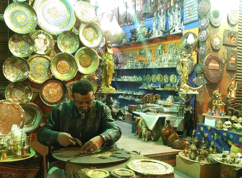 Real People Craft Egypt Traveling Culture Handmade For You Tourism Memory Place Of Worship Tradition Crafts Lifestyles Travel Destinations Multi Colored Copper Plate Khan_alkhalili Market Handmade For You