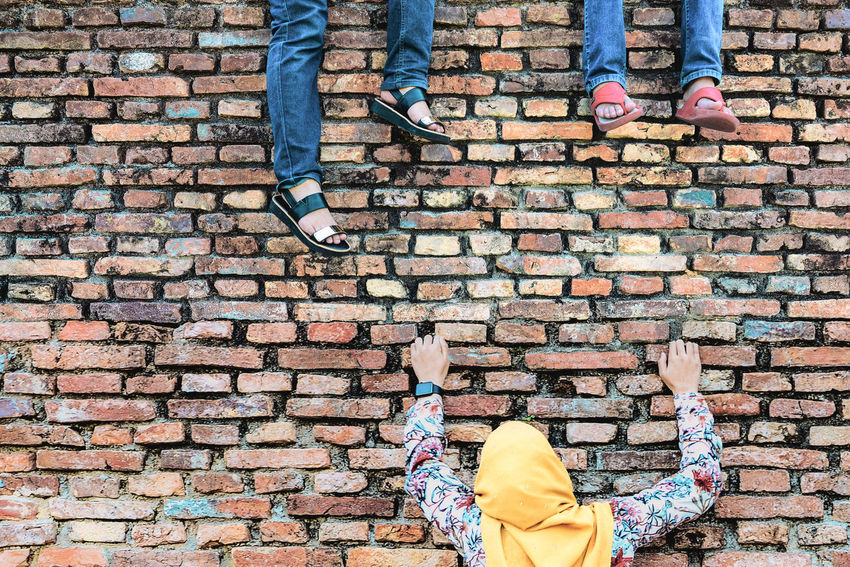 Brickwall Pangkor Island Teenagers  Textures Travel Woman In Hijab Ancient Ruins Climbing Fun Photography Playfullness Togetherness Rethink Things Perspectives On People