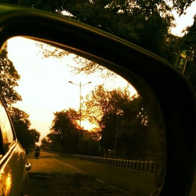 The Sunset in my rear mirror. Nature Delhi Xmas Travel Instagood Instanice