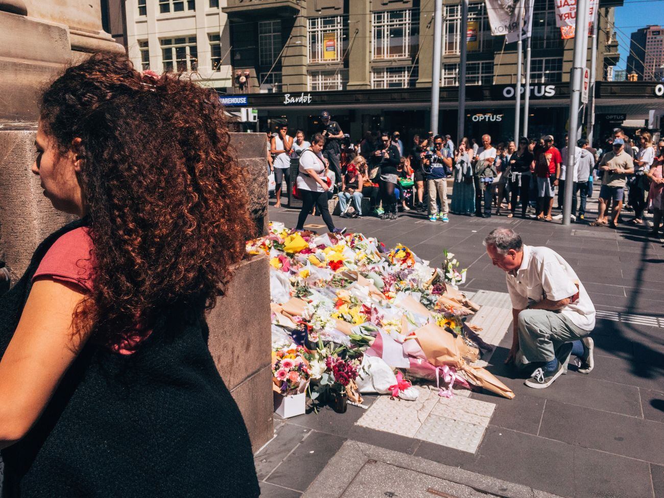 Today, the people of Melbourne gathered at the Bourke Street mall to grieve. Streetphotography Streetphoto_color Streets Of Melbourne ShotoniPhone6s Procamera Adobelightroommobile Mobilephotography IPhoneography MelbournePhotographer Reportage Photojournalism Bourke St - Melbourne People Watching VSCO