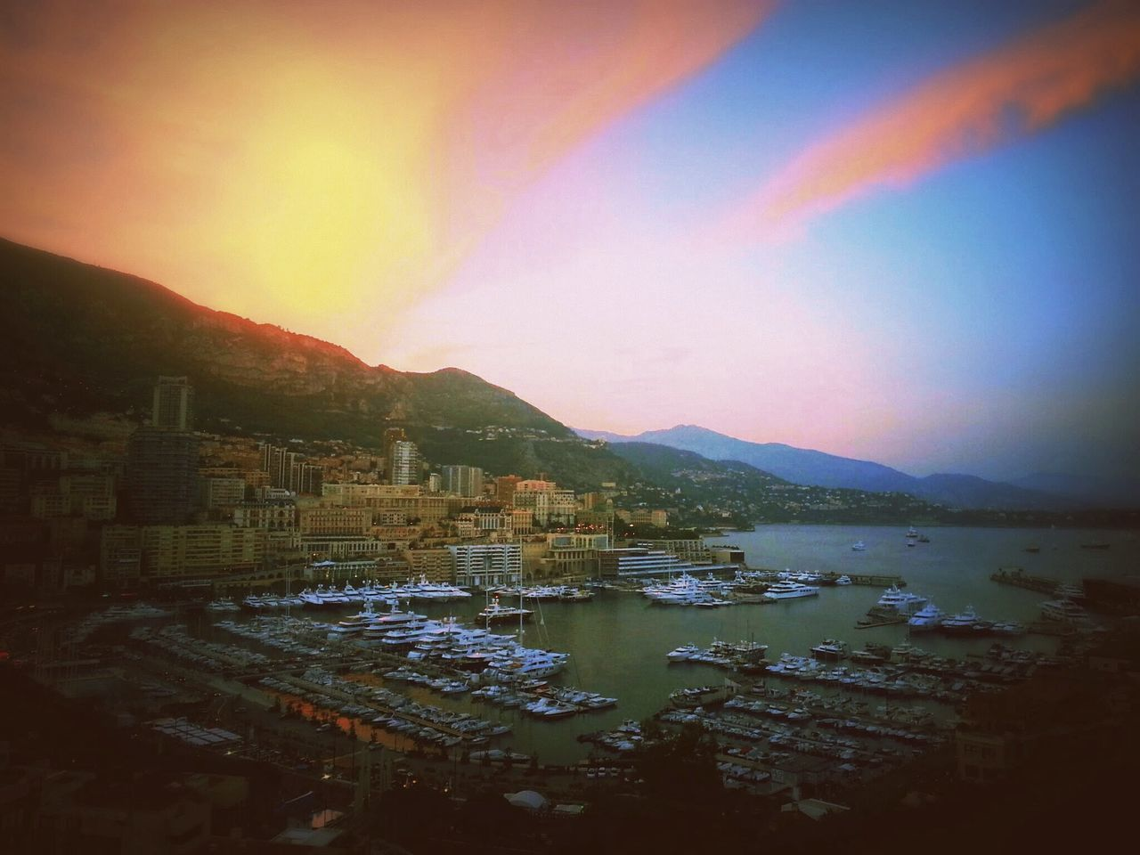 Mountain Sunset Water Dramatic Sky No People Tranquility Before The Storm Monaco Yachts Luxurylife Cityscape Seaside