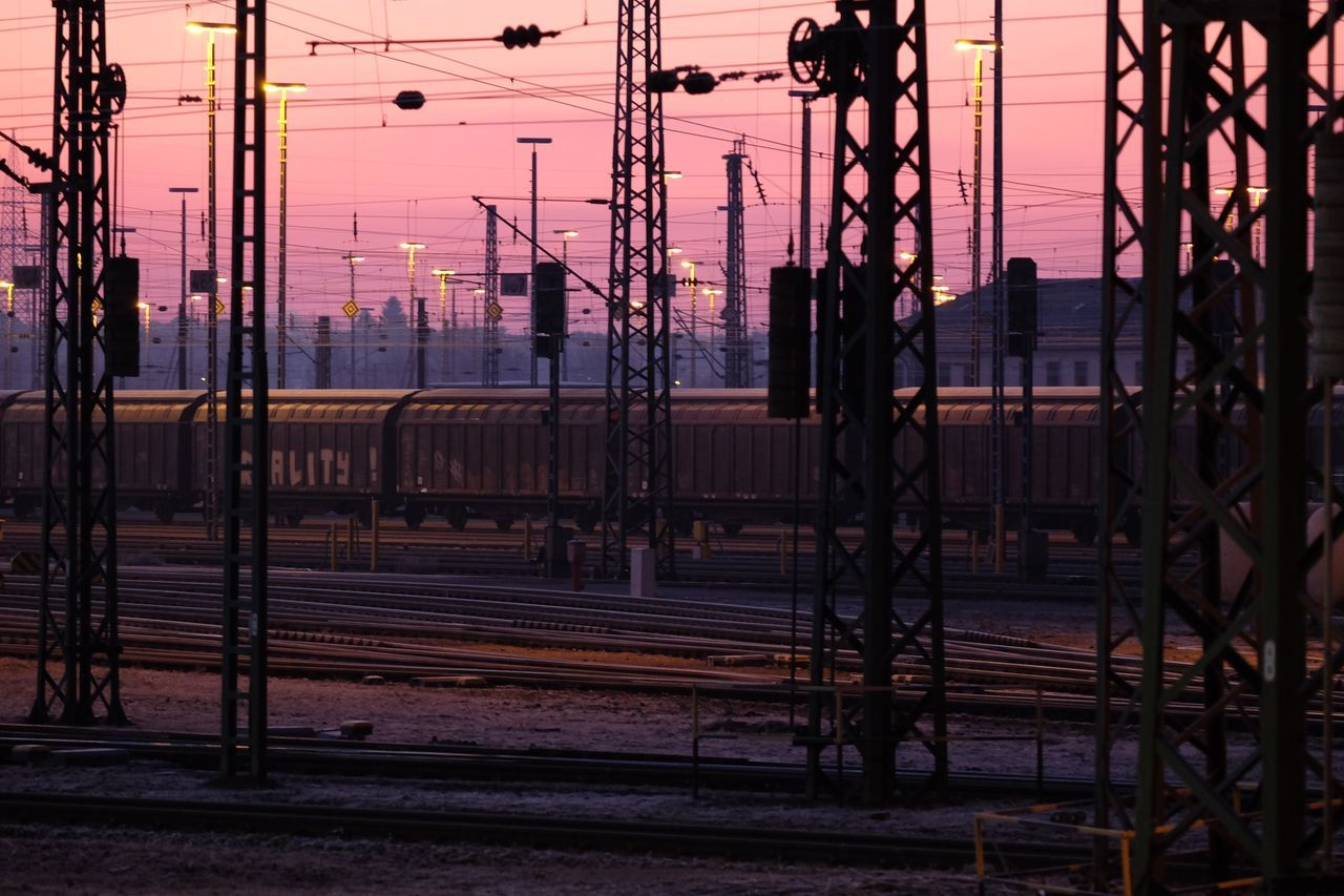 Mannheim Rangierbahnhof Dusk Metal Electricity  Railroad Track No People Electricity Pylon Outdoors Power Supply Architecture Day Sunrise Train Station Mannheim