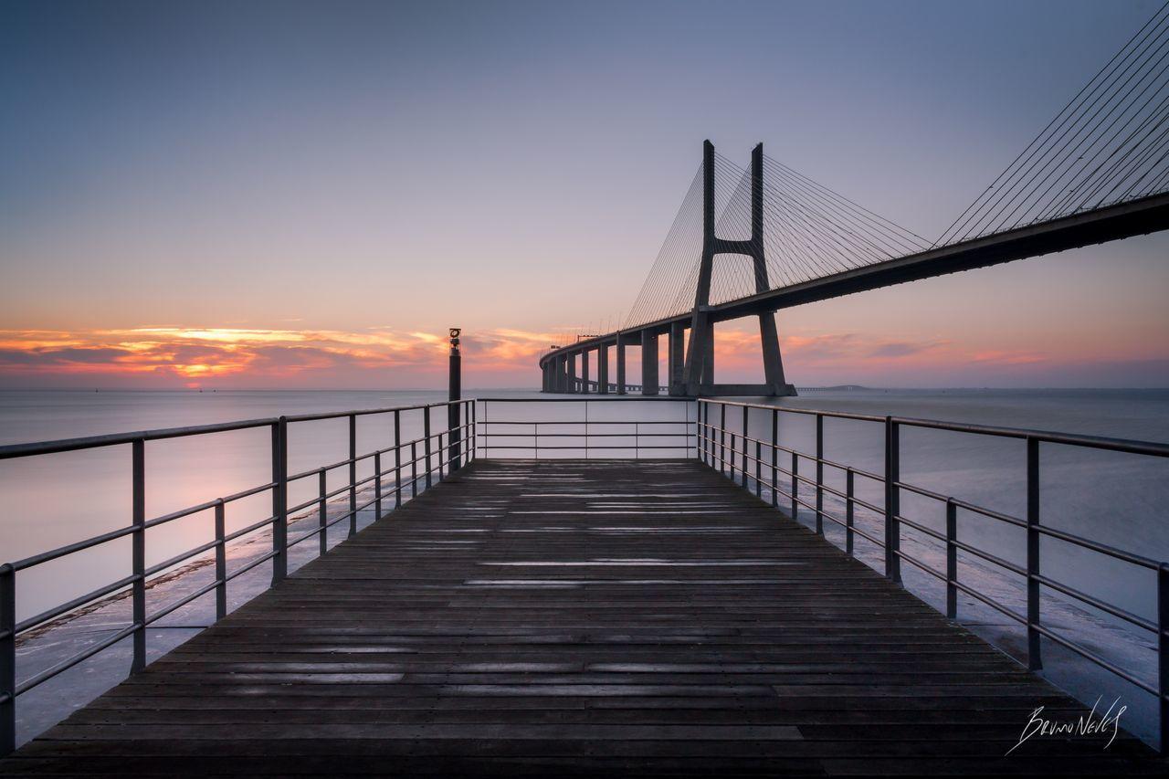 """Morning View"", Lisbon, Portugal. Water Sky Bridge Landscape Portugal Lisbon Lisboa River Vasco Da Gama Bridge Sunrise EOS700D Bruno Neves Pier Tagus River Long Exposure EyeEmNewHere"
