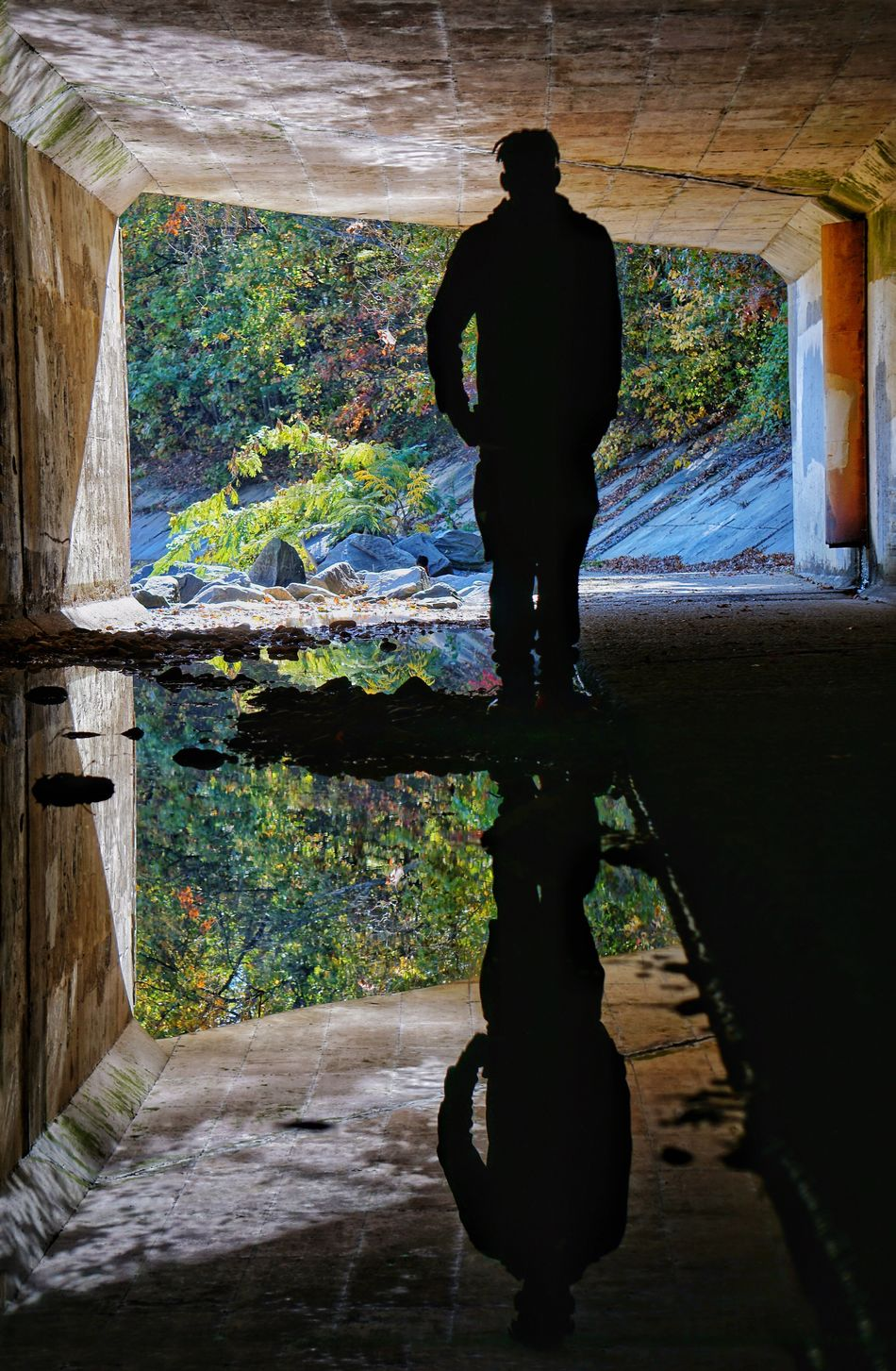 Full Length Real People Standing Water One Person Lifestyles Men Nature Beauty In Nature Outdoors Tunnel Tunnel View Infrastructure Urban Environment Silhouette Silhouettes Reflection Reflections Water Reflections Water Reflection Water Surface Cool Guy Water Urban Urban Geometry