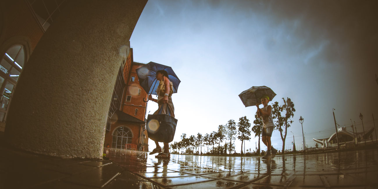 Always together Sky Water Cloud Outdoors Town Minsk Belarus City Life Fish-eye Lens People Parent Child Rain After Rain Fresh Air