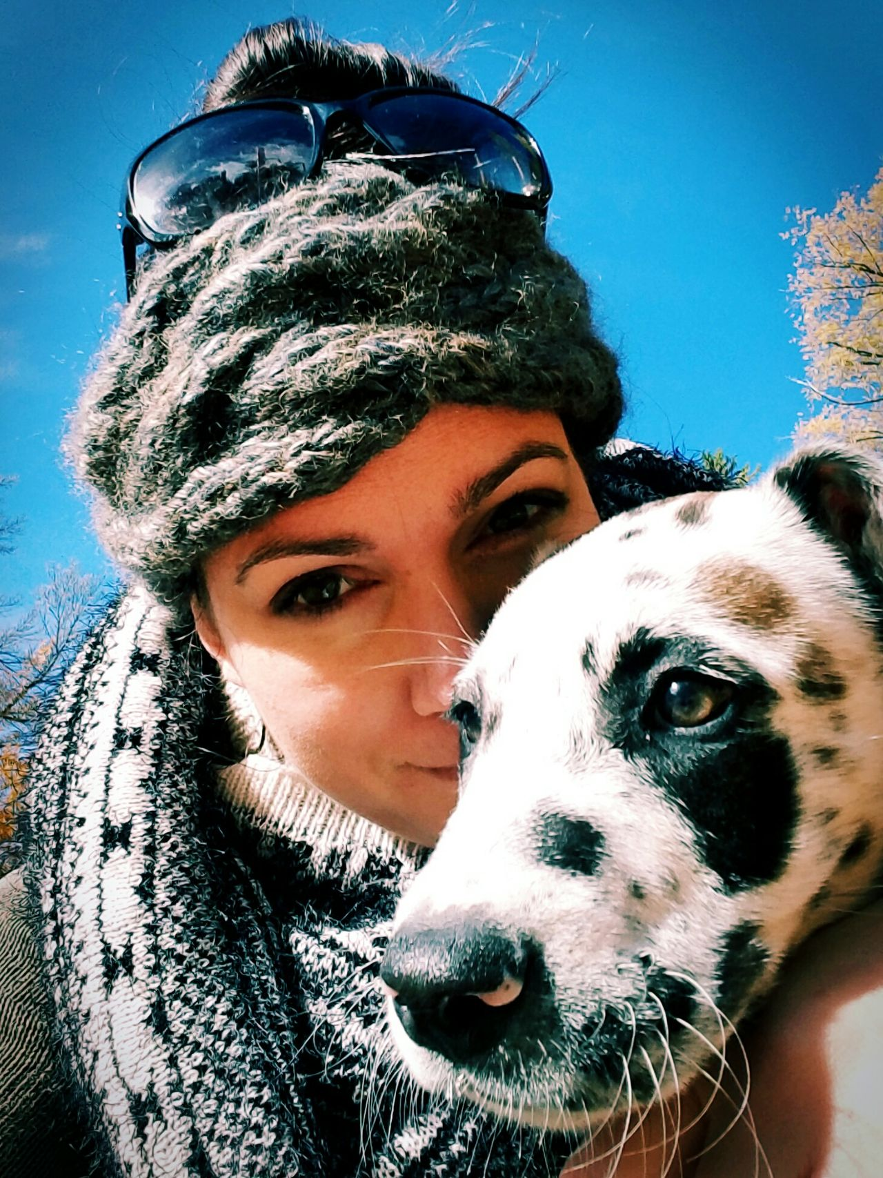 Dog Pets Animal Themes Warm Clothing Close-up Portrait Adult Young Women Friendship One Animal Day People Cold Temperature Outdoors Bonding Selfıe Puppy Fall Autumn Fashion Always Be Cozy