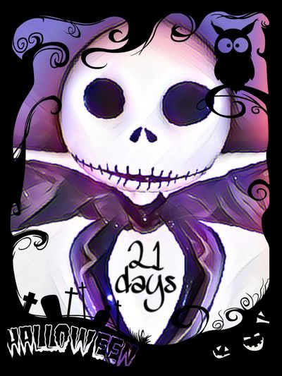 Come with us and you will see in 21 days it's Halloween. Text Decoration Ilovehalloween Halloween JackSkellington Pumpkinking Nightmarebeforechristmas
